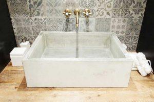 lavabo de microcemento blanco